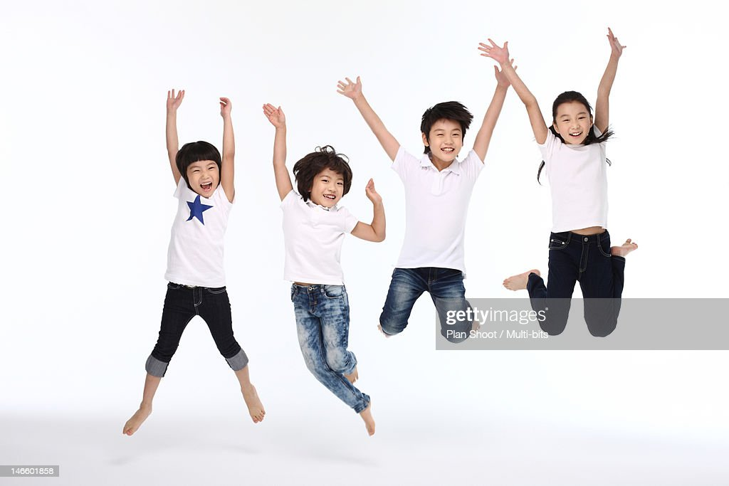 Children jumping : Stock Photo