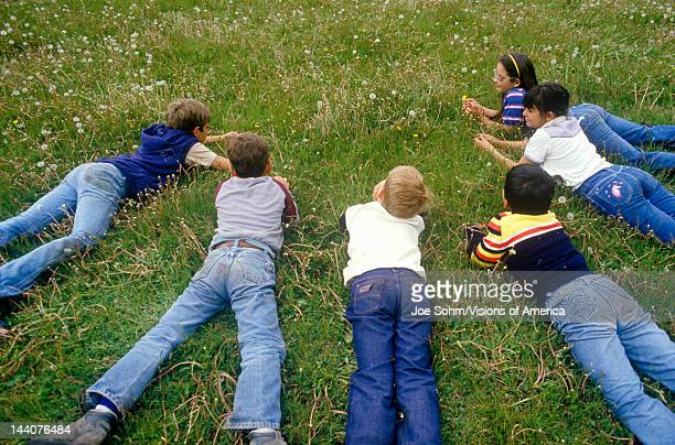 Children laying on grass picking dandelionsSanta Fe National Forest NM