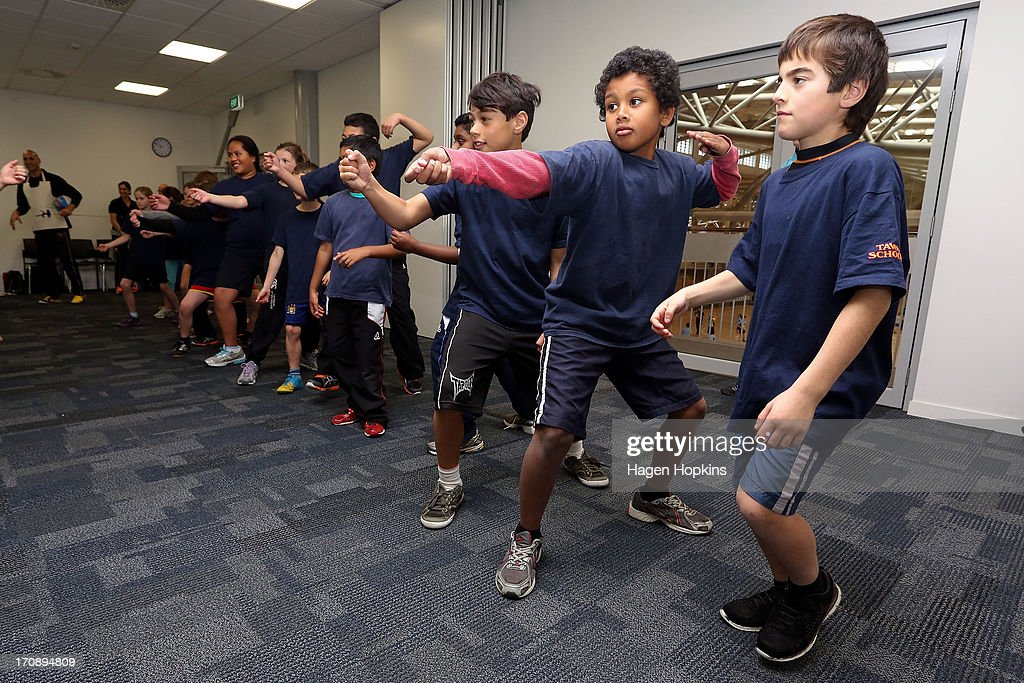 Children learn to fence during the launch of the New Zealand Olympic Ambassador Programme at ASB Sports Centre on June 20, 2013 in Wellington, New Zealand.