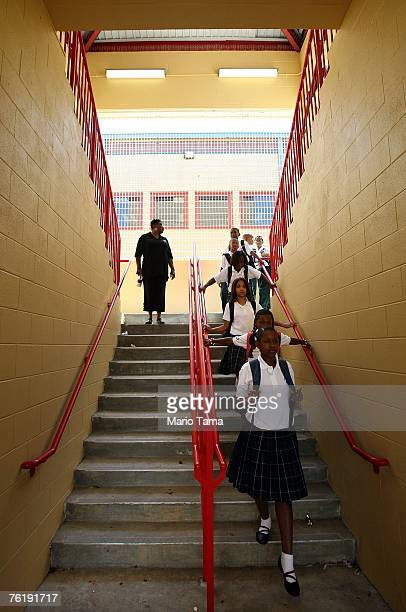 Children line up on the first day of school for kindergartners at Dr Martin Luther King Jr Charter School for Science and Technology in the Lower 9th...
