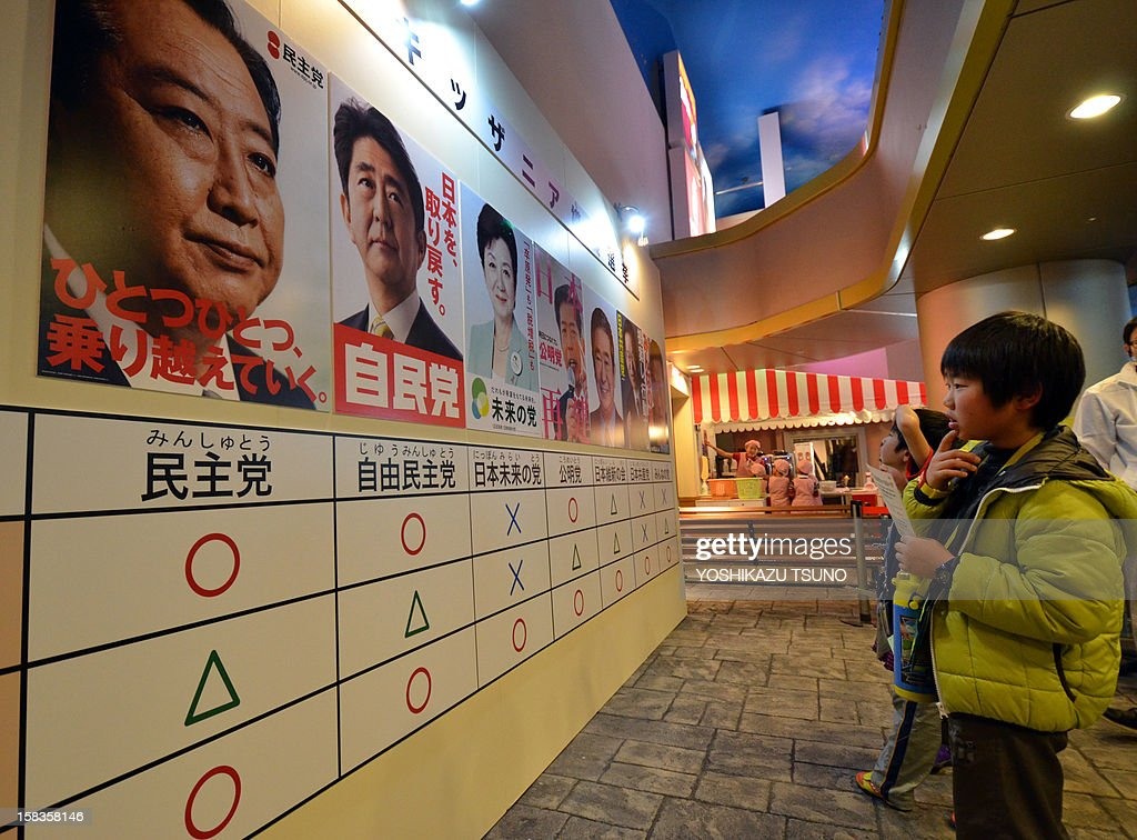 Children look at campaign posters highlighting the candidates from Japan's major parties before they cast their votes in a straw poll for the upcoming general election at the Kidzania career theme park in Tokyo on December 14, 2012. A group of elementary schoolchildren visiting the theme park took part in the exercise in the hope of teaching young people about the country's election process. Japan's young people in their 20s, alienated and outnumbered by a greying population, will barely bother to vote in weekend polls after a campaign that excluded social media and made little effort to engage them. AFP PHOTO / Yoshikazu TSUNO