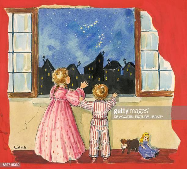 Children looking at the Big and Little Dipper constellations from a balcony children's illustration drawing