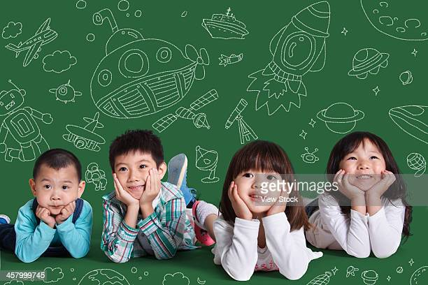 Children lying on floor