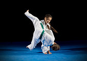 Children martial arts fighters isolated