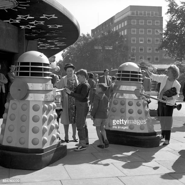 Children meeting robot Daleks outside the Planetarium Baker Street during location shooting for a new series