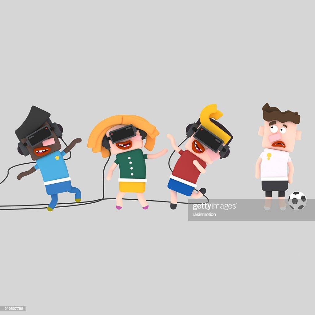 Children navigating the virtual world : Stock Photo