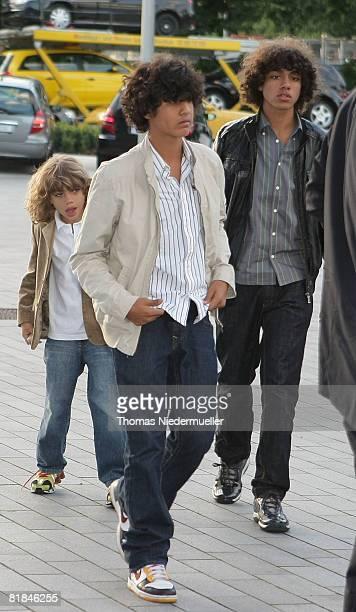 Children of Boris Becker Noah Gabriel and Elias Balthasar attend the Laureus Charity Gala at the Mercedes Benz branch on July 7 2008 in Stuttgart...