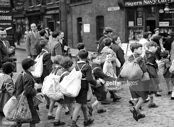 Children of the Davenant school in Whitechapel London leaving for their evacuation destinations 2nd September 1939
