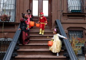 Children of the Jefferson Village Block Association 'Trick or Treat' at local residences in BedfordÐStuyvesant Brooklyn on October 31 2013 in New...