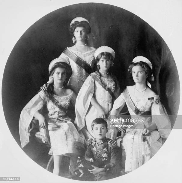 Children of Tsar Nicholas II of Russia c1910c1914 Grand Duchesses Olga Tatiana Anastasia and Maria and the Tsarevich Alexei All were murdered...