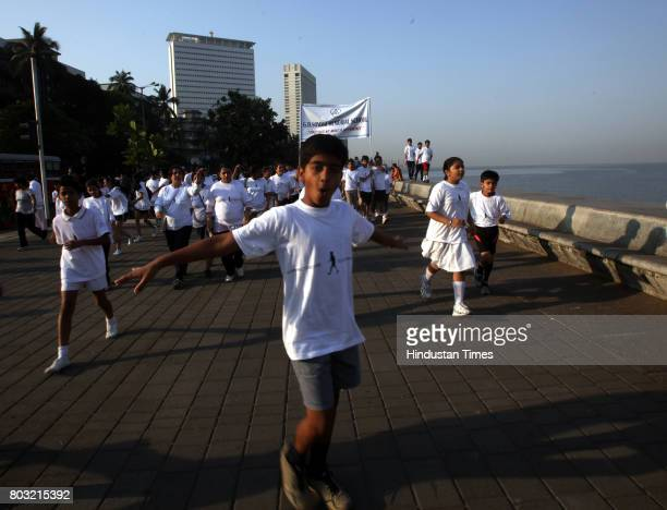 Children of various school participated in Terry Fox Run to fight against Cancer at Nariman Point in Mumbai