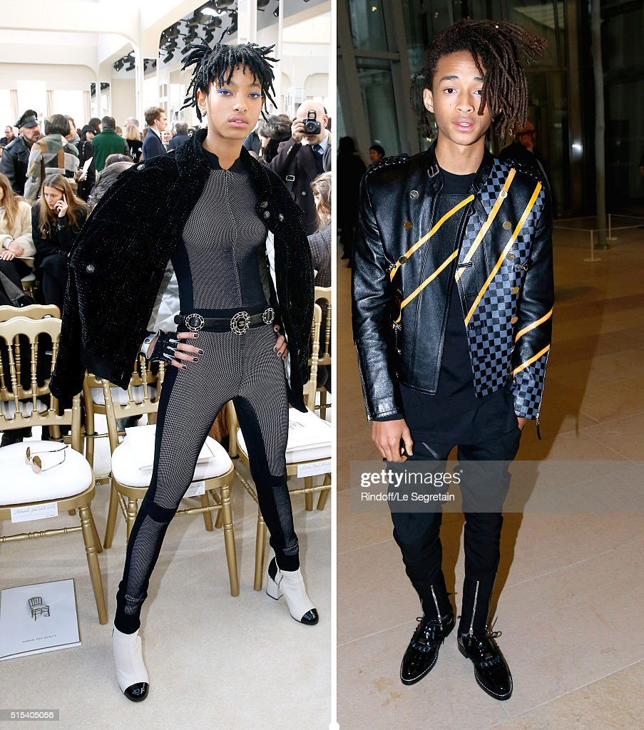 Children of Will Smith, Willow and Jaden look very similar during the Paris Fashion Week Womenswear Fall/Winter 2016/2017. Willow Smith (L) attends the Chanel show on March 8, 2016 her brother Jaden Smith (R) attends the Louis Vuitton show on March 9, 2016. Both in Paris, France