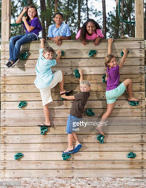 Children on climbing wall