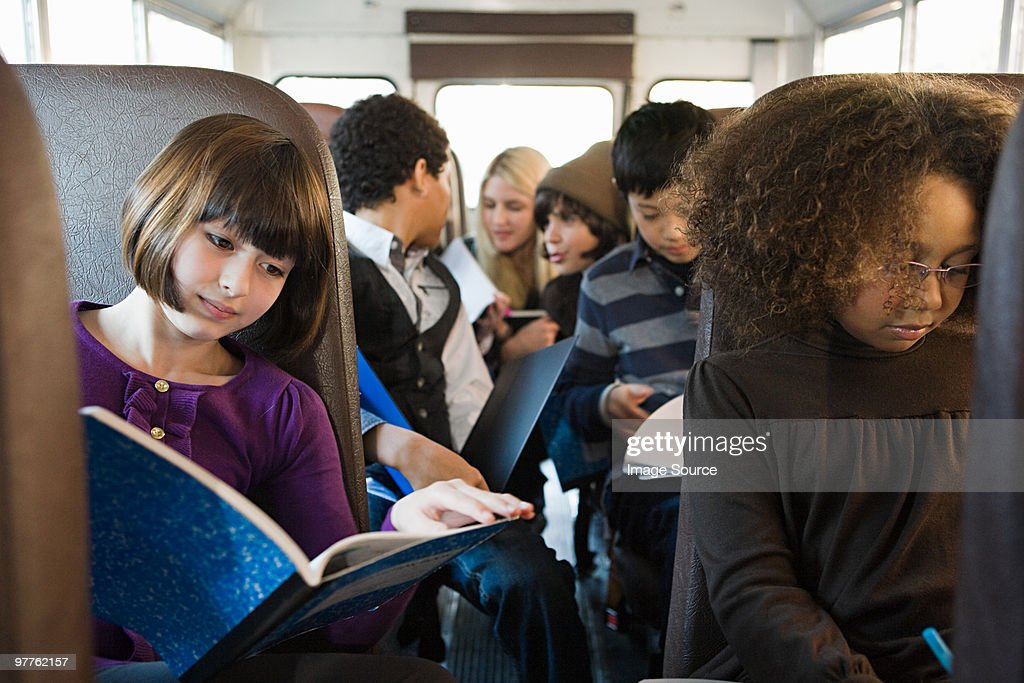 Children on school bus : Stock Photo