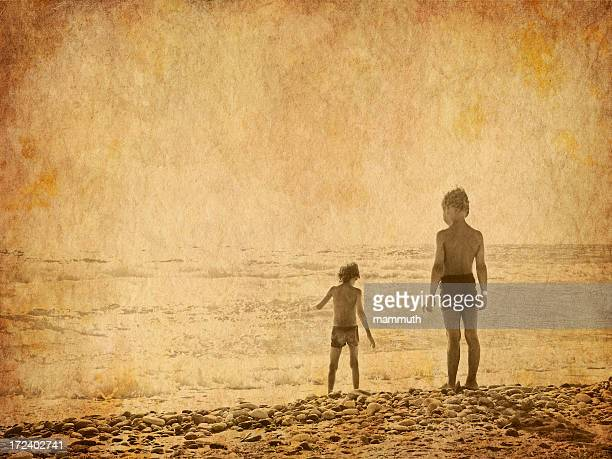 children on the beach - old photo