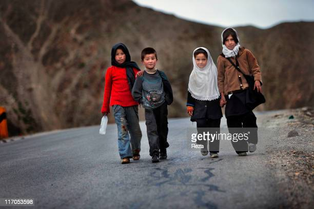 Children on their way to school May 14 2009 in the Panjshir Valley Afghanistan
