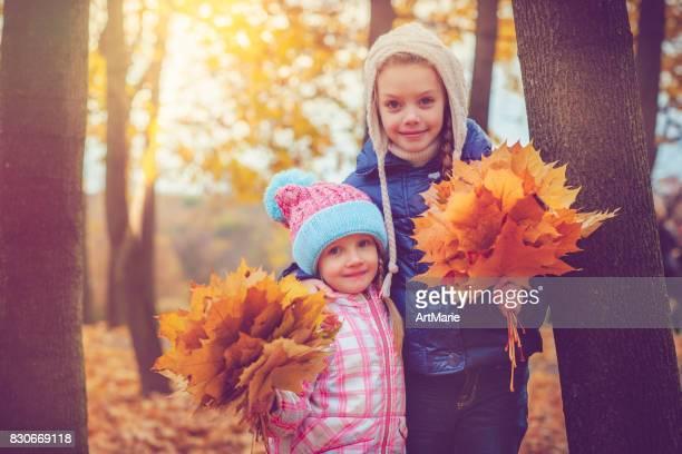 Children outdoors in autumn