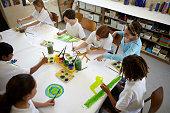 Children painting at school