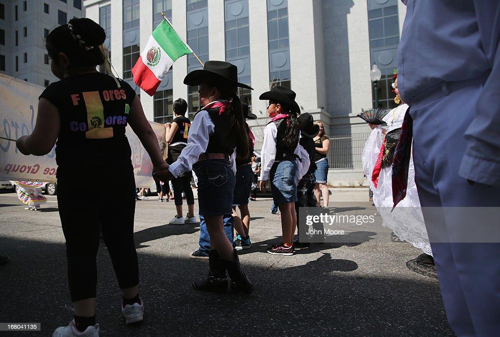 Children participate in a Cinco de Mayo parade celebrating Mexican culture on May 4, 2013 in Denver, Colorado. Hundreds of thousands of people were expected to attend the two day event, billed as the largest Cinco de Mayo celebration in the United States. Cinco de Mayo observes the victory of the Mexican army over French forces on May 5, 1862 in the town of Puebla, Mexico. The festival celebrates Mexican culture and is one of the most popular annual Latino events in the United States.