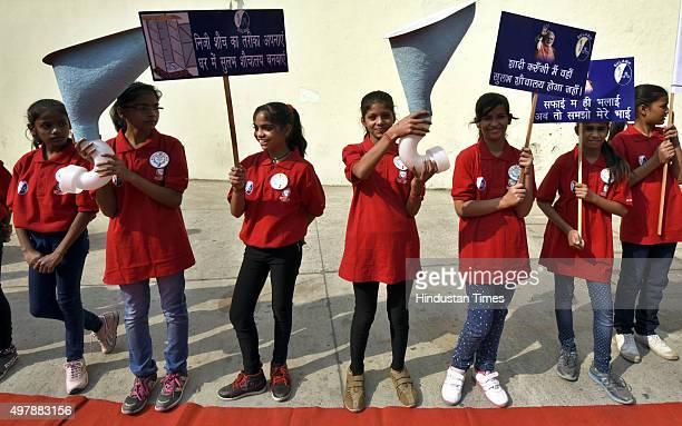 Children participate in an event organized by Sulabh International to mark World Toilet Day on November 19 2015 in New Delhi India Stressing on the...