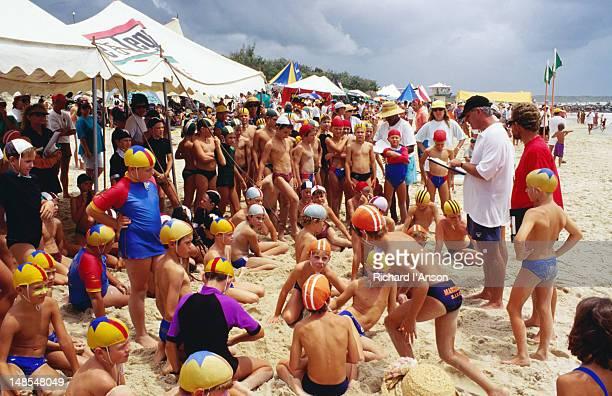 Children participate in surf life saving carnival.