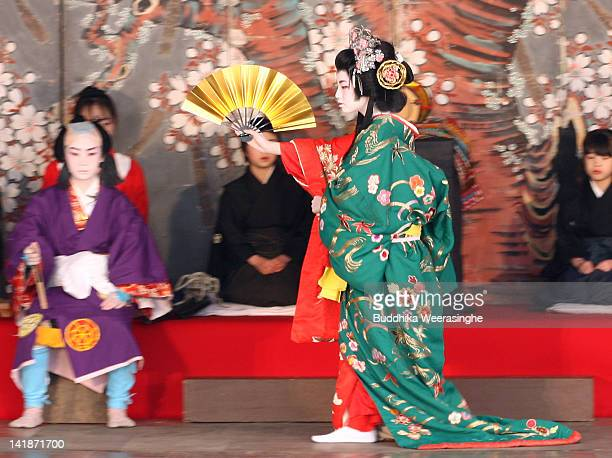 Children perform in a traditional Kabuki during the NankoKabuki Festival at an outdoor Kabuki theater on March 25 2012 in Sayo Japan Elementary and...