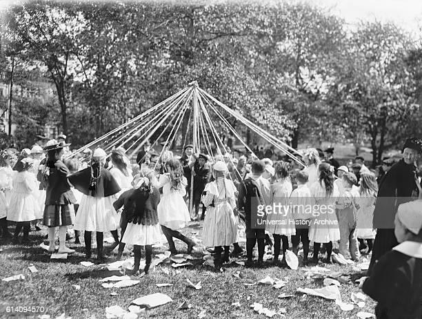 Children Performing Maypole Dance Central Park New York City USA circa 1905