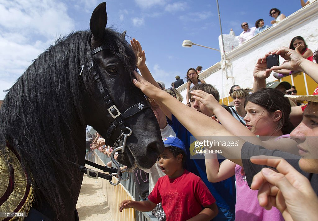 Children pet a horse during the traditional San Juan (Saint John) festival in the town of Ciutadella, on the Balearic Island of Menorca on Saint John's day, on June 24, 2013. AFP PHOTO/ JAIME REINA