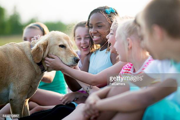 Children Petting a Dog