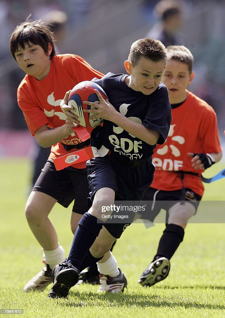 Children play at half time during the EDF Energy National Trophy match between Cornish Pirates and Exeter Chiefs at Twickenham on April 15 2007 in...