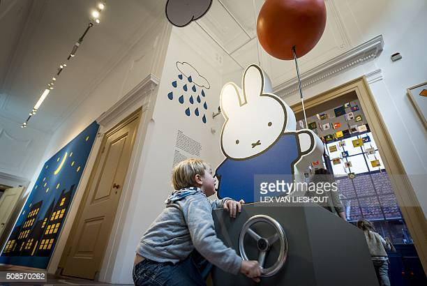Children play during the official reopening of the 'Nijntje Museum' in Utrecht on February 5 2016 Miffy is a small female rabbit character created by...