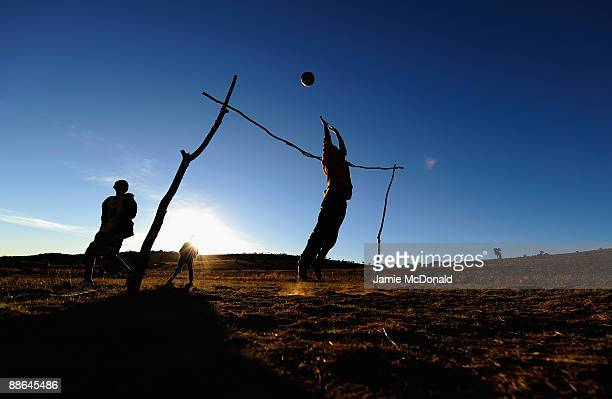 Children play football in the Erasmia township at Erasima on June 23 2009 in Johannesburg South Africa South Africa is cerrently hosting the FIFA...
