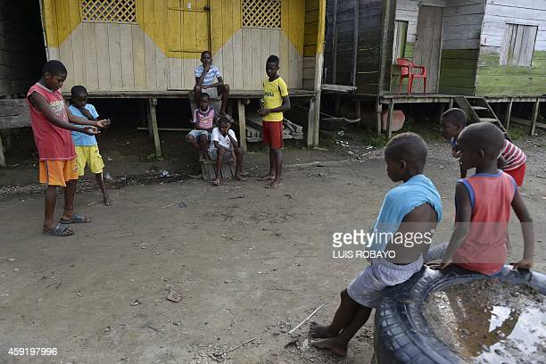 Children play in Las Mercedes rural area of Quibdo Department of Choco Colombia on November 18 where Colombian General Ruben Alzate was kidnapped...