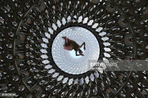 Children play in the 'Hive' an installation at Kew Gardens on July 20 2017 in London England