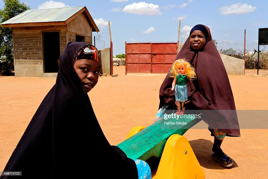 Children play in the refugee camp in Dadaab Kenya July 16 2014 This is the largest refugee camp in the world with a population of 355000 people...