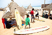 Children play on Yoff beach, Dakar, Senegal, Africa