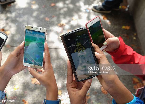 Children play Pokemon Go in Central Park as Pokemon Go craze hits New York City on July 29 2016 in New York City