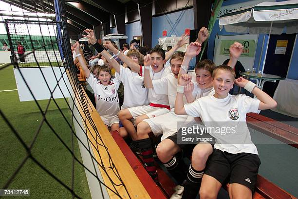 Children play soccer during the 'Play Soccer Get Together' charity tournament sponsored by Bitburger on February 24 2007 in Munich Germany