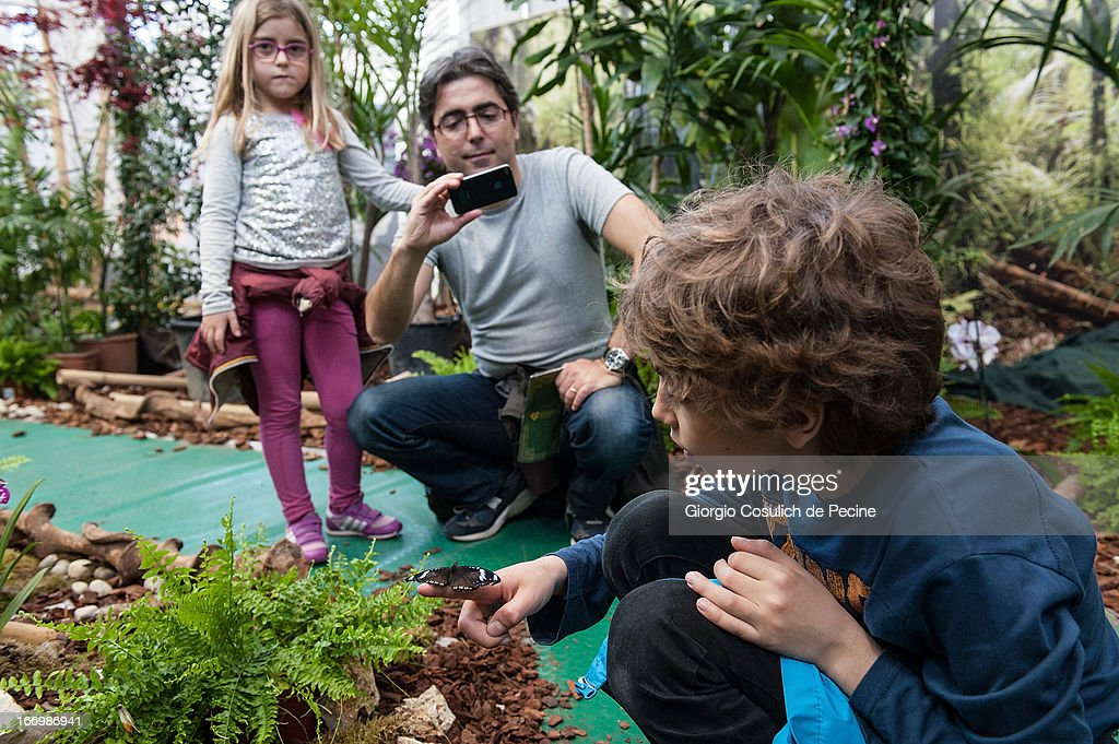 Children play with a butterfly during the opening of the new butterfly and insect section at the Bioparco on April 19, 2013 in Rome, Italy. A new greenhouse measuring 80 square metres will be unveiled at the capital's famous zoological gardens, where visitors will be able to walk amongst tropical butterfiles and a variety of insects.