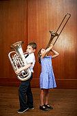 Children playing brass instruments