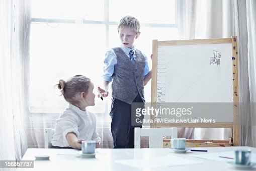Children playing business meeting : Stock Photo
