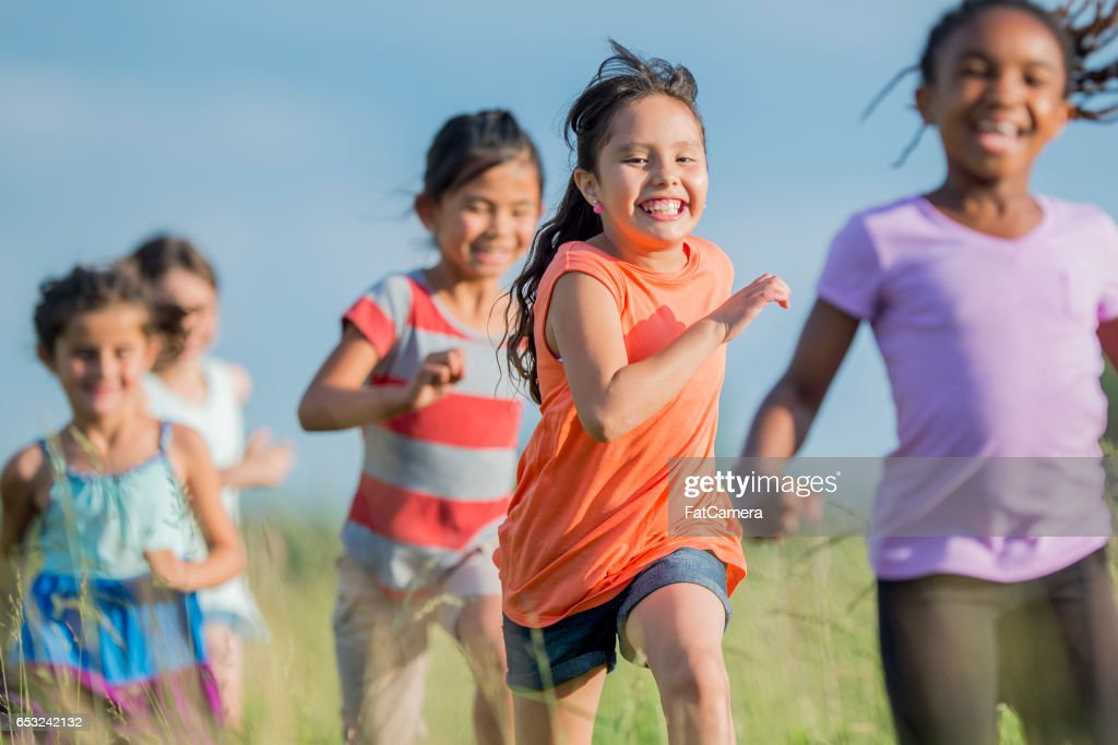 Children Playing Follow the Leader : Stock Photo