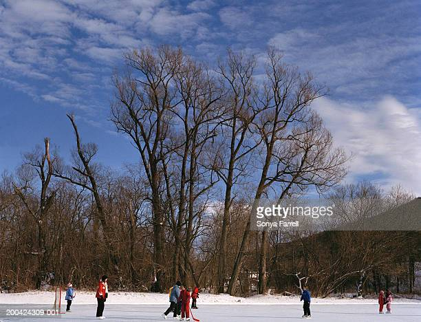 Children playing ice hockey on frozen pond, winter