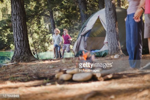 Children playing in campsite