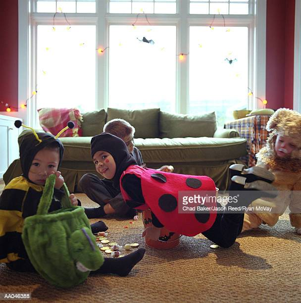Children Playing in Halloween Costumes