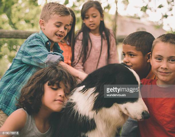 Bambini che giocano nel parco con un cane Confine Collie