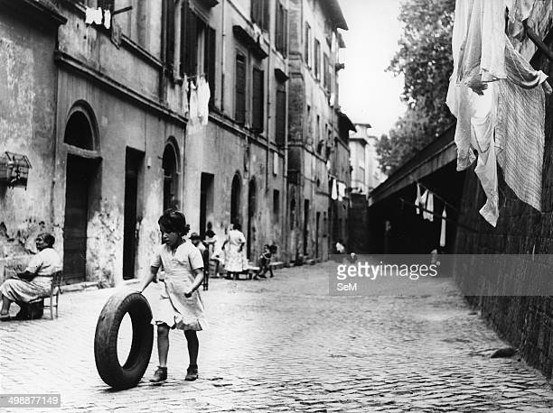 Children playing in the street in Trastevere Rome Italy 1950