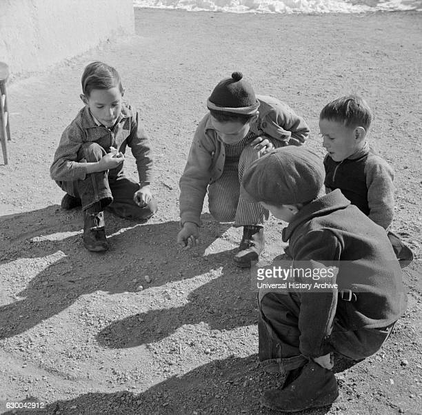 Children Playing Marbles Trampas New Mexico USA John Collier for Office of War Information January 1943