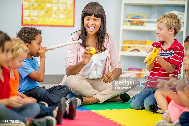 Children Playing Music at Preschool