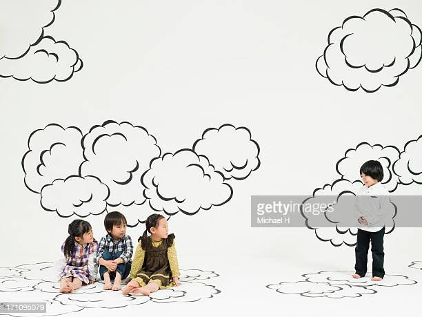 children playing  on the clouds